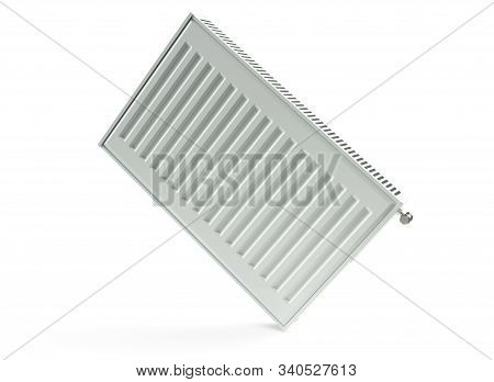 Heating Radiator With Radiator Thermostatic Valve On The Wall, 3d Rendering