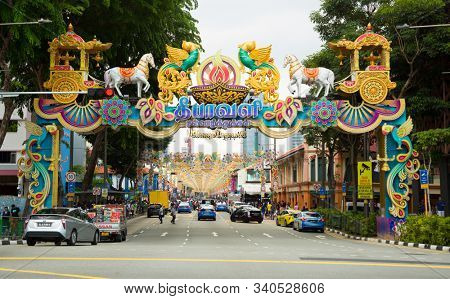 SINGAPORE - October 27, 2019:  Little India is an ethnic district in Singapore located east of the Singapore River.  Commonly known as Tekka in the Indian Singaporean community.