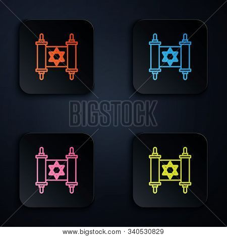 Color Neon Line Torah Scroll Icon Isolated On Black Background. Jewish Torah In Expanded Form. Star