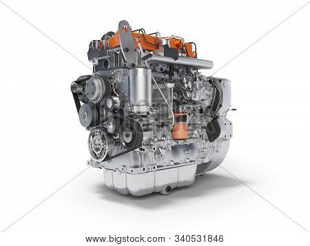 3d Rendering Motor For The Car Assembly On White Background With Shadow