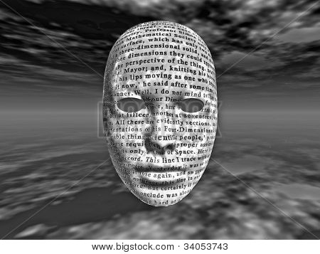 Surreal face with text text is from HG wells Time Machine it is in the public domain and there is no need for any release it was published in 1895