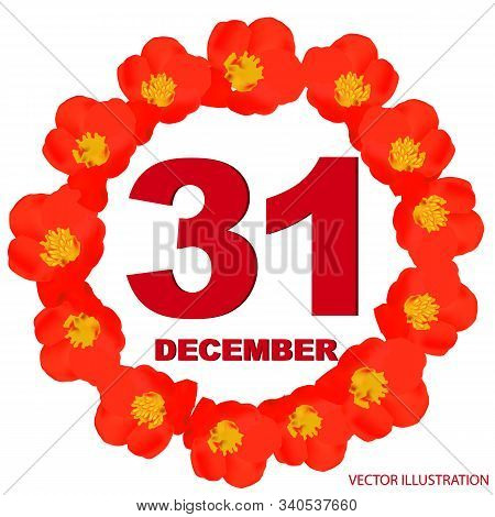 December 31 Icon. For Planning Important Day. Banner For Holidays And Special Days With Flowers. Thi