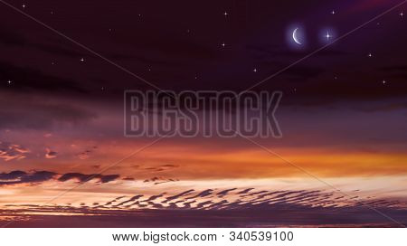 New Moon . Religion Background . The Sky At Night With Stars. Ramadan Background . Prayer Time . Moo