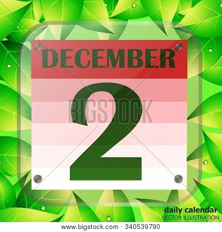 December 2 Icon. Calendar Date For Planning Important Day With Green Leaves. Banner For Holidays And