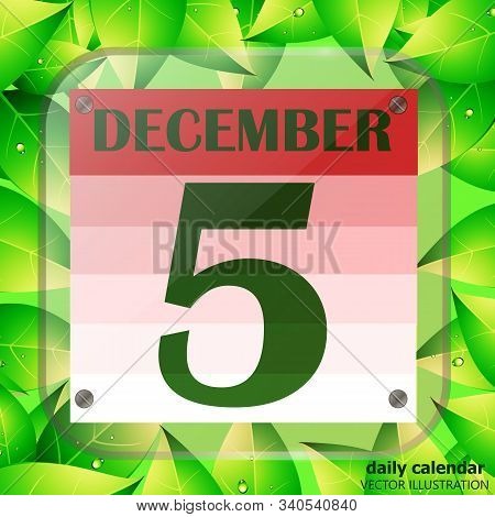 December 5 Icon. Calendar Date For Planning Important Day With Green Leaves. Banner For Holidays And