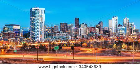 Denver, Colorado, USA downtown city skyline at night.