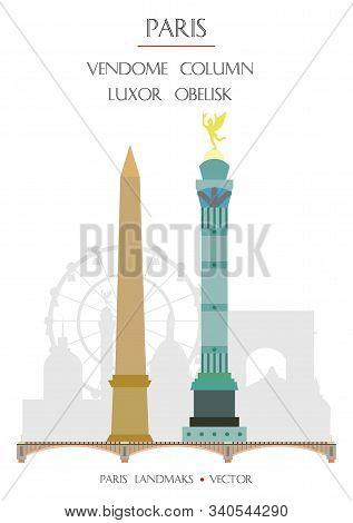 Colorful Vector Vendome Column And Luxor Obelisk Famous Landmarks Of Paris, France. Vector Illustrat