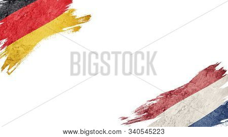 Flags Of Germany Andnederland On White Background