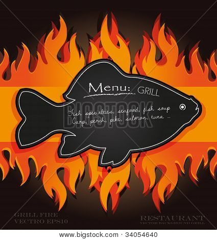 blackboard grill menu card fish fire board vector poster