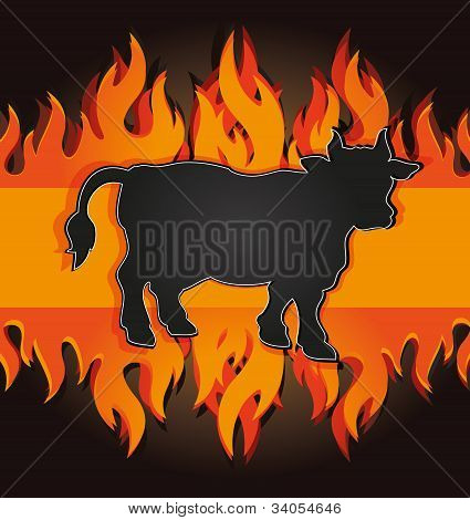 blackboard grill menu card cow bull fire board raster poster