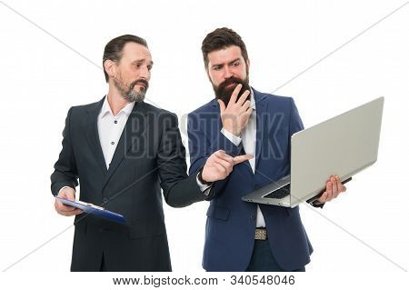 Business Plan. Business Director Or Boss Surfing Internet. Discussing Progress. Colleagues Work Toge