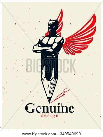 Strongman Muscle Man Combined With Pencil And Wings Into A Symbol, Strong Design Concept, Creative P