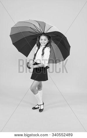 Fancy Schoolgirl. Girl With Umbrella. Rainy Day. Happy Childhood. Kid Happy With Umbrella. Fall Weat