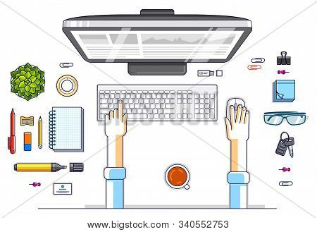 Office Worker Or Entrepreneur Working On A Pc Computer, Top View Of Workspace Desk With Human Hands