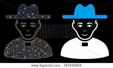 Flare Mesh Catholic Priest Icon With Lightspot Effect. Abstract Illuminated Model Of Catholic Priest