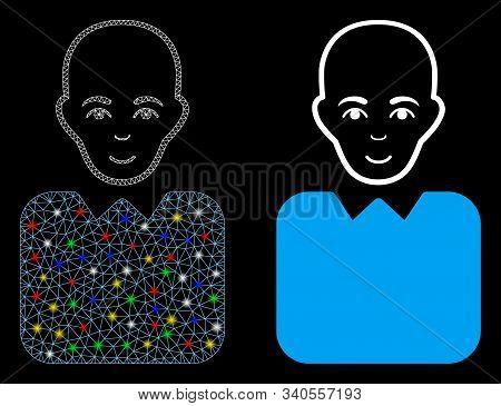 Glossy Mesh Bald Bureaucrat Icon With Glitter Effect. Abstract Illuminated Model Of Bald Bureaucrat.
