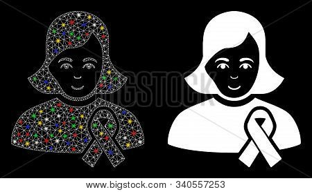 Glossy Mesh Girl With Sympathy Ribbon Icon With Lightspot Effect. Abstract Illuminated Model Of Girl