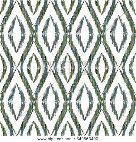 Ikat Ogee Seamless Vector Pattern Illustration. Ethnic Fabric Print Geometric Ikat Pattern. Cool Oge