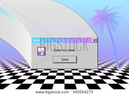 Abstract Vaporwave Aesthetics Background With 90s Style System Message Window, Palm And Checkered Fl