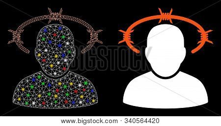 Glossy Mesh Crown Of Thorns Icon With Glitter Effect. Abstract Illuminated Model Of Crown Of Thorns.