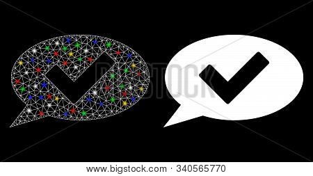Flare Mesh Ok Message Icon With Glitter Effect. Abstract Illuminated Model Of Ok Message. Shiny Wire