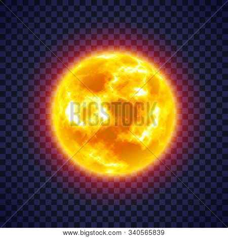 Sun With Corona Atmosphere On Transparent Background. Hot Star Of Solar System. Galaxy Discovery And