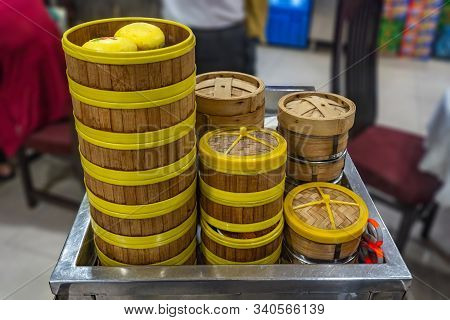 Chinese Bamboo Dimsum Steamer Boxes In Asian Restaurant