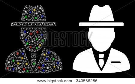 Glowing Mesh Spy Person Icon With Sparkle Effect. Abstract Illuminated Model Of Spy Person. Shiny Wi