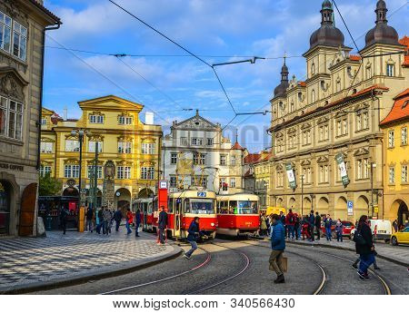 Retro Tram At Old Town Of Prague, Czechia