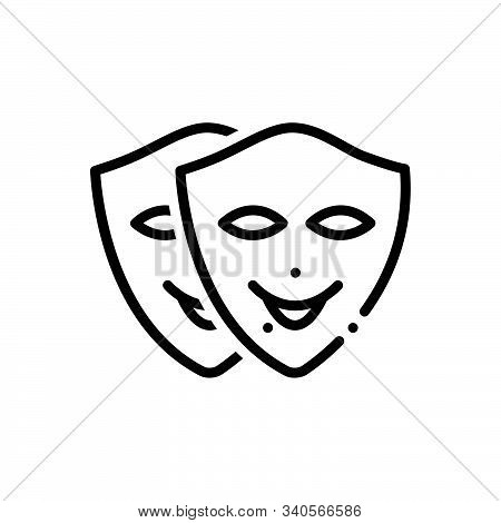 Black Line Icon For Cosplay Roleplay Playact Pretend Dissemble