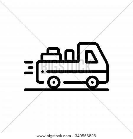 Black Line Icon For Deliverable Deliver Courier Occupation Package Parcel Supplier