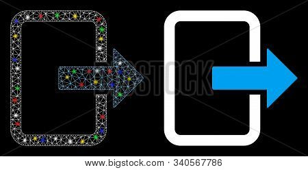Glossy Mesh Exit Door Icon With Lightspot Effect. Abstract Illuminated Model Of Exit Door. Shiny Wir