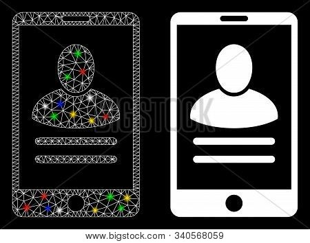 Glossy Mesh Mobile User Properties Icon With Lightspot Effect. Abstract Illuminated Model Of Mobile