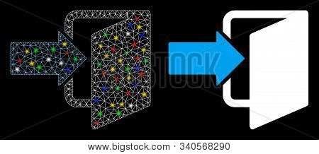 Glowing Mesh Exit Door Icon With Lightspot Effect. Abstract Illuminated Model Of Exit Door. Shiny Wi