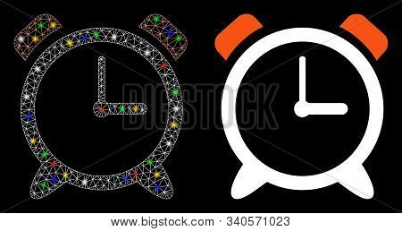Bright Mesh Alarm Clock Icon With Glitter Effect. Abstract Illuminated Model Of Alarm Clock. Shiny W