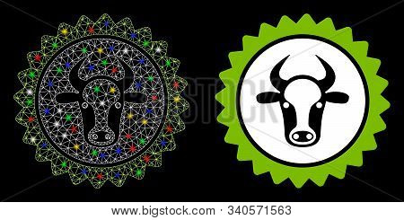 Glowing Mesh Beef Certificate Seal Icon With Glare Effect. Abstract Illuminated Model Of Beef Certif