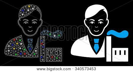 Flare Mesh Capitalist Oligarch Icon With Lightspot Effect. Abstract Illuminated Model Of Capitalist