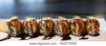 Traditional japanese food cuisine Unagi roll, japanese ell serve with japanese rice and avocado with special sauce. Panorama crop for web banner.