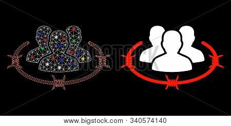 Glossy Mesh Concentration Camp Icon With Glare Effect. Abstract Illuminated Model Of Concentration C