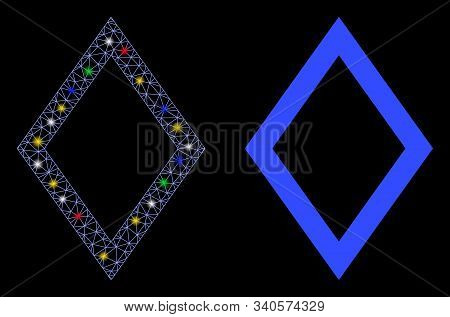 Bright Mesh Contour Rhombus Icon With Glare Effect. Abstract Illuminated Model Of Contour Rhombus. S