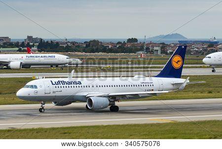Istanbul, Turkey - Sep 30, 2018. D-aizw Lufthansa Airbus A320 Taxiing On Runway Of Istanbul Ataturk