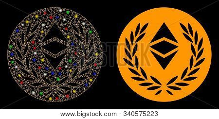 Glowing Mesh Ethereum Classic Laurel Coin Icon With Lightspot Effect. Abstract Illuminated Model Of
