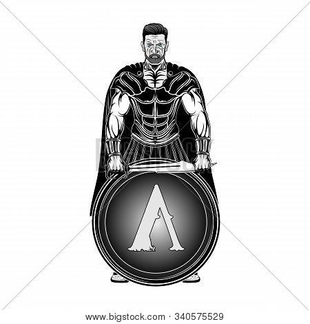 Angry Spartan Hero With Sword And Shield. A Mighty Greek Warrior. King Leonidas. God Of War Ares. Ve
