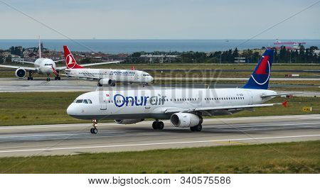 Istanbul, Turkey - Sep 30, 2018. Tc-oeb Onur Air Airbus A321 Taxiing On Runway Of Istanbul Ataturk A
