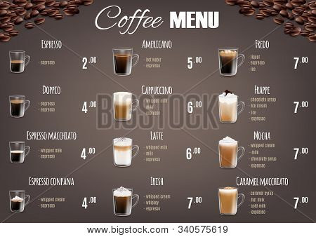 Coffee Drinks Menu Price List Vector Template