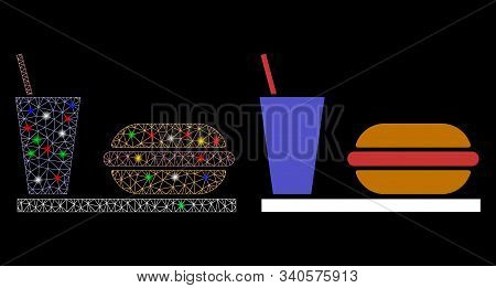 Glowing Mesh Fastfood Icon With Sparkle Effect. Abstract Illuminated Model Of Fastfood. Shiny Wire F