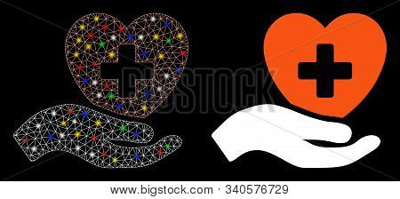 Bright Mesh Hand Offer Cardiology Icon With Glow Effect. Abstract Illuminated Model Of Hand Offer Ca