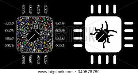Flare Mesh Hardware Bug Icon With Sparkle Effect. Abstract Illuminated Model Of Hardware Bug. Shiny