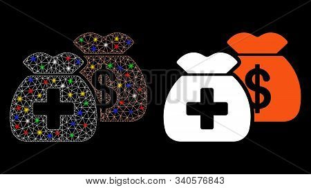 Bright Mesh Health Care Funds Icon With Sparkle Effect. Abstract Illuminated Model Of Health Care Fu