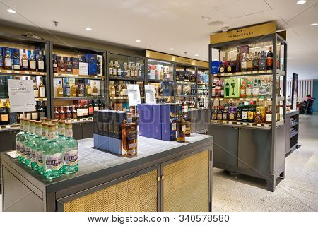 BERLIN, GERMANY - CIRCA SEPTEMBER, 2019: alcoholic beverages on display at the Kaufhaus des Westens (KaDeWe) department store in Berlin.